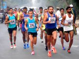 People participate in 33rd edition All-India Indira Marathon organised in Allahabad on birth anniversary of Former Prime Minister Indira Gandhi,on Nov 19, 2017.