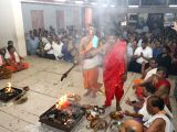 People perform yagna to pray for health of Goa Chief Minister Manohar Parrikar in Panaji on Feb 23, 2018.