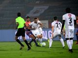 Players in action during an ISL match between North East United FC and FC Pune City at Indira Gandhi Athletic Stadium in Guwahati on Feb 7, 2018.