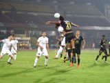 Players in action during an ISL match between NorthEast United FC and Kerela Blasters FC at Indira Gandhi Athletics Stadium in Guwahati on Feb 17, 2018.