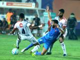 Players in action during an ISL match between Delhi Dynamos FC and FC Goa at Pandit Jawaharlal Nehru Stadium in Fatorda, Margao of Goa on Feb 21, 2018.