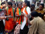 Police stops BJP workers during a demonstration at Telangana Excise Commissioners office in Hyderabad on Nov 16, 2017.