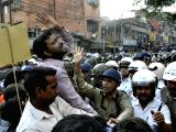 Police tries to stop BJP workers participating in Lalbazar Abhiyan rally against the Trinamool Congress government, in Kolkata on Dec 2, 2017.