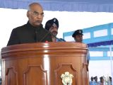 President Ram Nath Kovind addresses during the presentation of Standards to the 223 Squadron and the 117 Helicopter Unit at a ceremonial parade of the Indian Air Force at Adampur Air Force ...