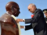 President Ram Nath Kovind pays floral tribute at the bust of Mahatma Gandhi at Nelson Mandela Avenue in Ambouli, Djibouti on Oct 3, 2017.