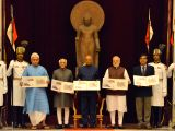 President Ram Nath Kovind release a set of 8 commemorative postage stamps at the 'At Home' reception for Freedom Fighters hosted by him at Rashtrapati Bhavan in New Delhi on Aug 9, 2017. ...
