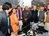 President Ram Nath Kovind with Uttar Pradesh Governor Ram Naik, Chief Minister Yogi Adityanath, Deputy Chief Minister Keshav Prasad Maurya and Union Finance Minister Arun Jaitley at the ...