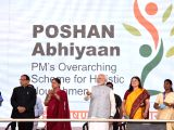 Prime Minister Narendra Modi at the launch of National Nutrition Mission in Jhunjhunu, Rajasthan on March 8, 2018. Also seen Union Women and Child Development Minister Maneka Sanjay ...