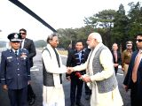 Prime Minister Narendra Modi being seen off by Meghalaya Governor Ganga Prasad and Chief Minister Mukul Sangma after his Shillong visit, on Dec 16, 2017.