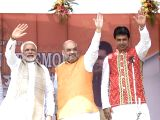 Prime Minister Narendra Modi, BJP Chief Amit Shah and Tripura Chief Minister Biplab Kumar Deb during swearing in ceremony of Deb in Agartala, on March 9, 2018.
