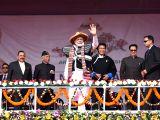 Prime Minister Narendra Modi with Arunachal Pradesh Governor Brigadier (Retd.) B.D. Mishra, Chief Minister Pema Khandu at the inauguration of Dorjee Khandu State Convention Centre, in ...