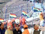 Prime Minister Narendra Modi with with Karnataka Governor Vajubhai Vala, Union Minister Ananth Kumar and Chaurkeerti Bhattaraka Mahaswamiji of Shravana Belagola during the ...