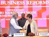 Prime Minister Narendra Modi with World Bank CEO Kristalina Georgieva during India's Business Reforms session at Pravasi Bhartiya Kendra in New Delhi on Nov 4, 2017.