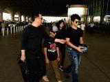 Producer Sajid Nadiadwala along with his wife Wardha Khan, sons Sufyan Nadiadwala and Subhan Nadiadwala seen at Chhatrapati Shivaji Maharaj International airport in Mumbai.
