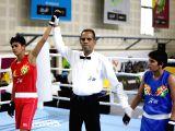 Punjab's Ekta Saroj after winning against Haryana's Bharti during the 46kg class girls boxing quarterfinals at Khelo India School Games held at Indira Gandhi Indoor Stadium in New Delhi on ...