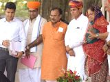 Rajasthan Chief Minister Vasundhara Raje inaugurates cow milk dairy plant in Ajmer on Oct 23, 2017.
