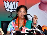 Rajasthan Chief Minister Vasundhara Raje addresses a press conference in Jaipur, on March 4, 2018.