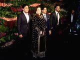 Reliance Foundation (RF) Chairperson Nita Ambani along with her son Akash Ambani, actor Ranbir Kapoor and director Ayan Mukerji  at the wedding reception of Indian cricket captain Virat Kohli ...