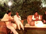 Samajwadi Party leader Ram Gopal Yadav, BSP leader Satish Chandra Misra and Jharkhand Vikas Morcha-Prajatantrik's Babulal Marandi during a dinner hosted by UPA Chairperson Sonia Gandhi at ...