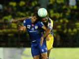 Sandesh Jhingan of Kerala Blasters FC (right) goes for a header during an ISL match between Kerala Blasters FC and Mumbai City FC at the Jawaharlal Nehru Stadium in Kochi, on Dec 3, 2017.