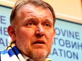 SARAJEVO, Jan. 6, 2018 - Robert Prosinecki reacts during a press conference in Sarajevo Jan. 6, 2018. Former Real Madrid and Barcelona player Robert Prosinecki was named as the head coach of Bosnia ...