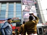 Security beefed up outside a cinema hall in Patna on Jan 29, 2018. Cinema halls began screening Bollywood movie