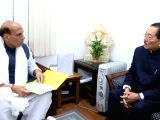 Sikkim Chief Minister Pawan Kumar Chamling calls on Union Home Minister Rajnath Singh in New Delhi on Feb 17, 2018.