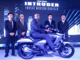 Suzuki Motorcycle India Private Limited (SMIPL) Managing Director Satoshi Uchida with Executive Vice President (Sales and Marketing) Sajeev Rajasekharan and others at the launch of Suzuki ...