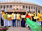 TDP MPs stage a demonstration to press for special economic status for Andhra Pradesh at Parliament in New Delhi on March 16, 2018.