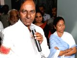 Telangana Chief Minister K Chandrasekhar Rao talks to the press in the presence of West Bengal Chief Minister Mamata Banerjee at Nabanna in Howrah on March 19, 2018.