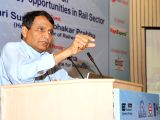 The Union Minister for Railways Suresh Prabhakar Prabhu addresses at the inauguration of a Seminar on Solar Energy-opportunities in Rail Sector, organised by the Institution of Railway ...