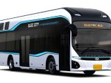 This photo provided by Hyundai Motor Co. on Oct. 26, 2017, shows its new hydrogen fuel cell electric bus unveiled in the southeastern industrial city of Ulsan. Hyundai plans to put three ...