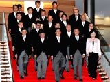 TOKYO, Nov. 1, 2017 - Japanese Prime Minister Shinzo Abe (front C) and his cabinet members pose for photos at Abes official residence in Tokyo, Japan, Nov. 1, 2017. Japanese Prime Minister Shinzo ...