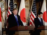 TOKYO, Nov. 6, 2017 - Visiting U.S. President Donald Trump (L) holds a press conference together with Japanese Prime Minister Shinzo Abe in Tokyo, capital of Japan, on Nov. 6, 2017.