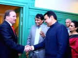 Union Commerce and Industry Minister Suresh Prabhu and Maharashtra Chief Minister Devendra Fadnavis meet Swedens Prime Minister Stefan Löfven during the Business ers Conference in ...