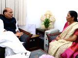 Union Defence Minister Nirmala Sitharaman calls on Union Home Minister Rajnath Singh in New Delhi on Dec 8, 2017.