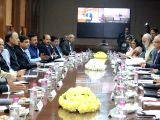 Union Finance and Corporate Affairs Minister Arun Jaitley along with Union MoS Finance Hasmukh Adhia and Reserve Bank of India Governor Urjit Patel, chairs the 569th Central Board Meeting ...