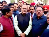 Union Finance Minister Arun Jaitley along with members of the Dussehra Committee, during his visit to inspect the construction of Shri Radha Krishna Temple in Amritsar on Feb 22, 2018.