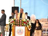Union Home Minister Rajnath Singh addresses during the 60th Annual Convocation of Lucknow University on Dec 9, 2017.