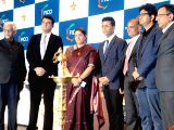 Union Information and Broadcasting Minister Smriti Irani, filmmaker Karan Johar, Film and Television Producers Guild of India president Siddharth Roy, Central Board of Film Certification ...