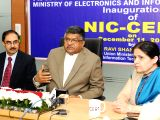 Union IT Minister Ravi Shankar Prasad addresses a press conference t the inauguration of the NIC Data Security Centre in New Delhi, on Dec 11, 2017.