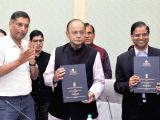 Union Minister for Finance and Corporate Affairs Arun Jaitley at the signing ceremony of an MoU between Dept. of Economic Affairs and NBCC (India) Ltd. for construction of housing project ...