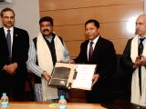 Union Petroleum Minister Dharmendra Pradhan and Meghalaya Chief Minister Mukul Sangma at the signing ceremony of a Memorandum of Understanding between Government of Meghalaya and Indian Oil ...