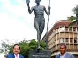 Union Science and Technology Minister Dr. Harsh Vardhan with Pietermaritzburg Mayor Themba Njilo after paying floral tributes at the statue of Mahatma Gandhi, in Pietermaritzburg, ...