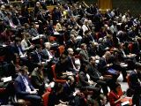 UNITED NATIONS, Dec. 8, 2017 - Photo taken on Dec. 8, 2017 shows the United Nations Security Council spectators attending an emergency meeting on Jerusalem at the UN headquarters in New York. The UN ...