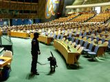 UNITED NATIONS, Nov. 4, 2017 - Officer Roren Aitcheson and his Labrador Hector of the United Nations K-9 (Canine) Unit are pictured in the General Assembly Hall at the UN headquarters in New York, ...