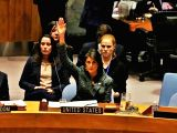 United States Permanent Representative and cabinet member Nikki Haley votes in the United Nations Security Council on Feb. 24, 2018, for a resolution demanding a ceasefire in Syria.