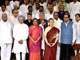 UPA's presidential candidate Meira Kumar arrives at Parliament to file her nomination papers with Congress President Sonia Gandhi, Dr Manmohan Singh (Congress), Sitaram Yechury (CPI-M), ...