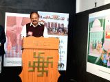 Vice President M. Venkaiah Naidu addresses during his visit to an exhibition on Prince Dara Shukoh, at Indira Gandhi National Centre for the Arts, in New Delhi on Feb 20, 2018.