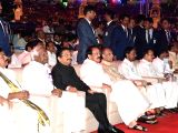 Vice-President M. Venkaiah Naidu, Maharashtra Governor Chennamaneni Vidyasagar Rao, Telangana Governor ESL Narasimhan, Telangana Chief Minister K Chandrasekhar Rao during inauguration of ...